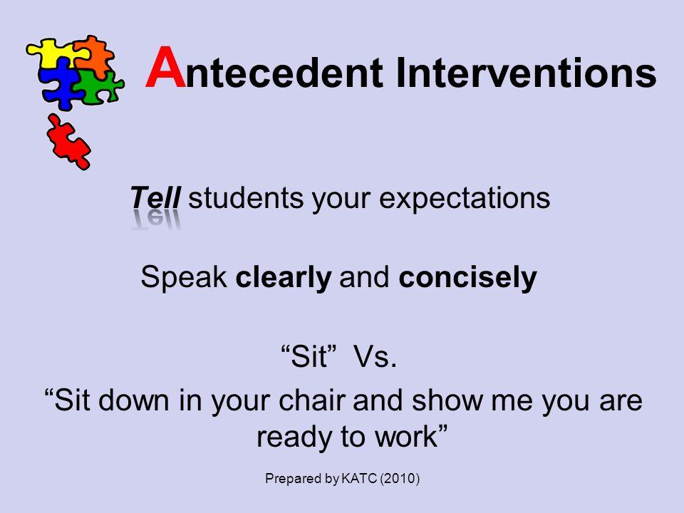 A ntecedent Interventions Prepared by KATC (2010)