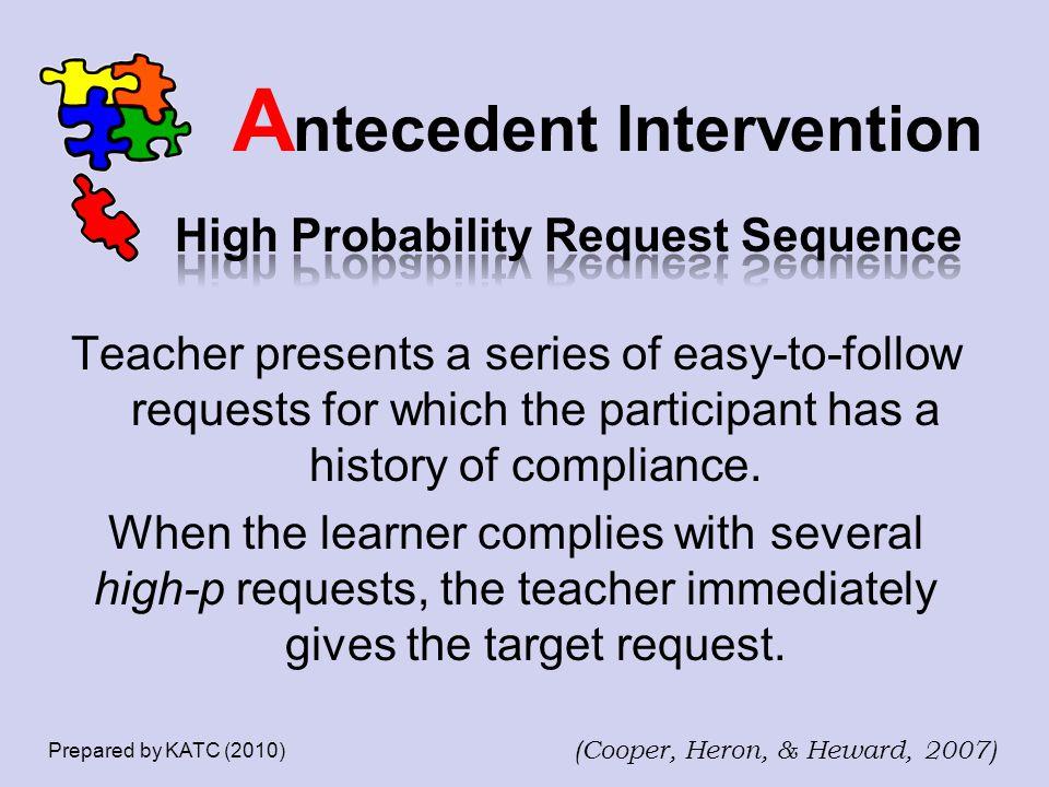A ntecedent Intervention Prepared by KATC (2010) (Cooper, Heron, & Heward, 2007)
