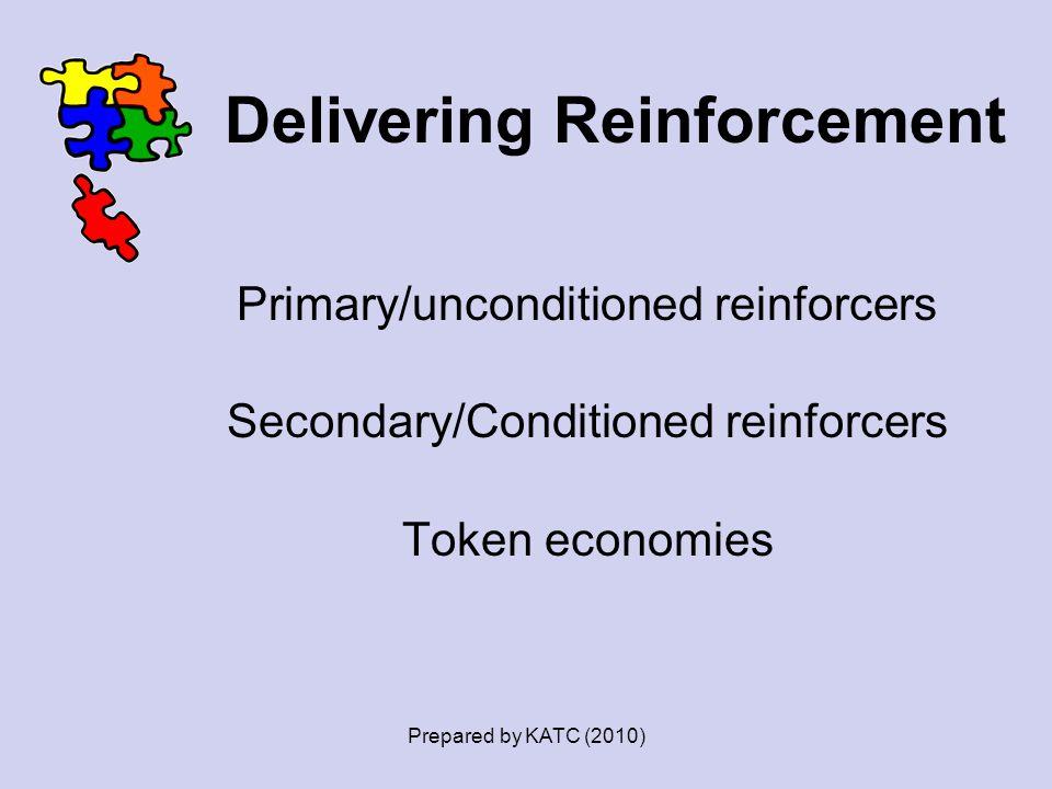 Delivering Reinforcement Primary/unconditioned reinforcers Secondary/Conditioned reinforcers Token economies Prepared by KATC (2010)