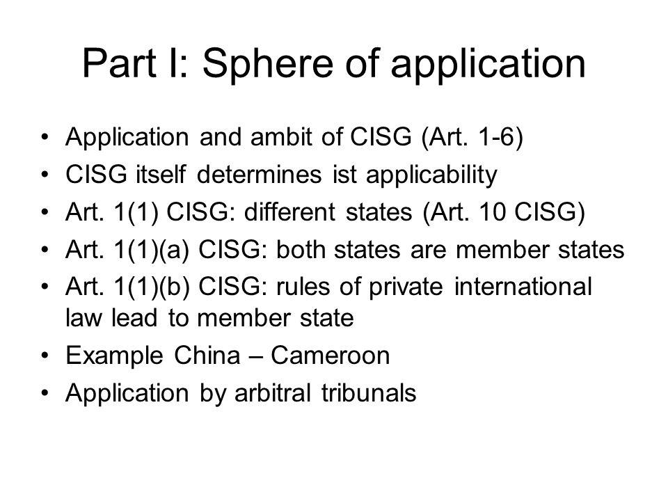 Part I: Sphere of application Party autonomy Art.