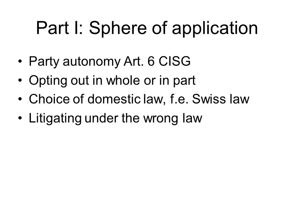 Part III/9: Substantive Rules – Effects of Avoidance Art.