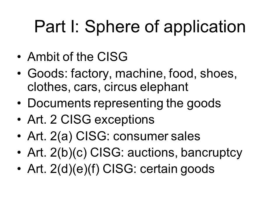 Part I: Sphere of application Substantive ambit Art.