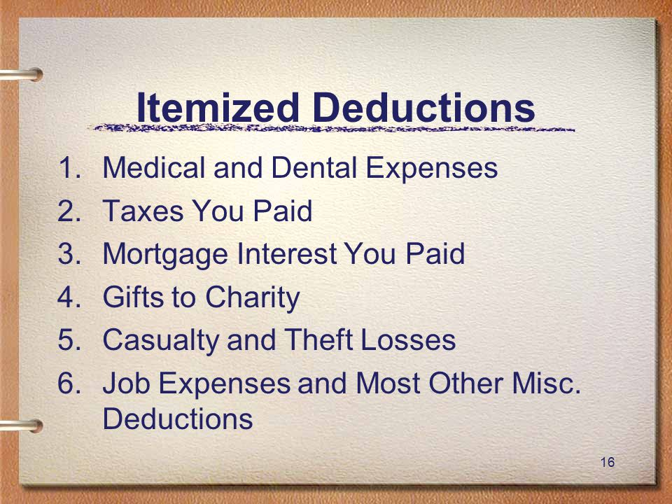 16 Itemized Deductions 1.Medical and Dental Expenses 2.Taxes You Paid 3.Mortgage Interest You Paid 4.Gifts to Charity 5.Casualty and Theft Losses 6.Job Expenses and Most Other Misc.