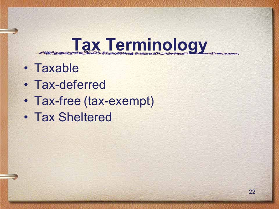 22 Tax Terminology Taxable Tax-deferred Tax-free (tax-exempt) Tax Sheltered