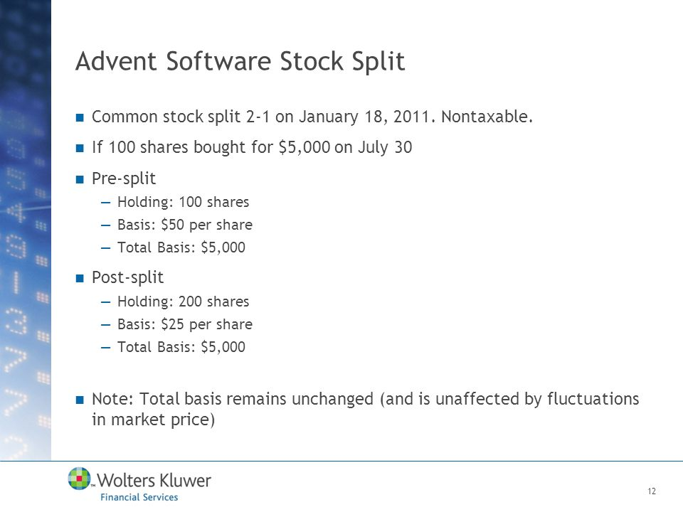 Advent Software Stock Split Common stock split 2-1 on January 18, 2011. Nontaxable. If 100 shares bought for $5,000 on July 30 Pre-split —Holding: 100
