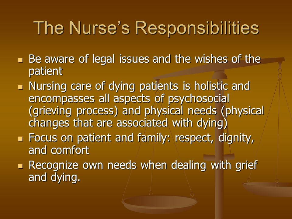 The Nurse's Responsibilities Be aware of legal issues and the wishes of the patient Be aware of legal issues and the wishes of the patient Nursing care of dying patients is holistic and encompasses all aspects of psychosocial (grieving process) and physical needs (physical changes that are associated with dying) Nursing care of dying patients is holistic and encompasses all aspects of psychosocial (grieving process) and physical needs (physical changes that are associated with dying) Focus on patient and family: respect, dignity, and comfort Focus on patient and family: respect, dignity, and comfort Recognize own needs when dealing with grief and dying.