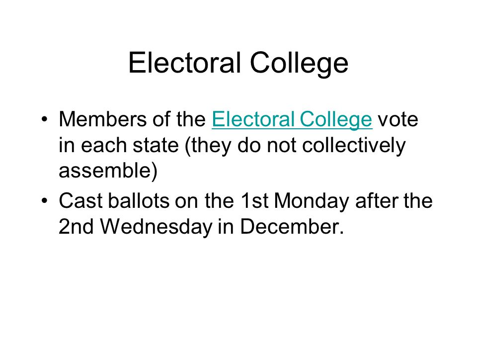 Electoral College Members of the Electoral College vote in each state (they do not collectively assemble)Electoral College Cast ballots on the 1st Monday after the 2nd Wednesday in December.
