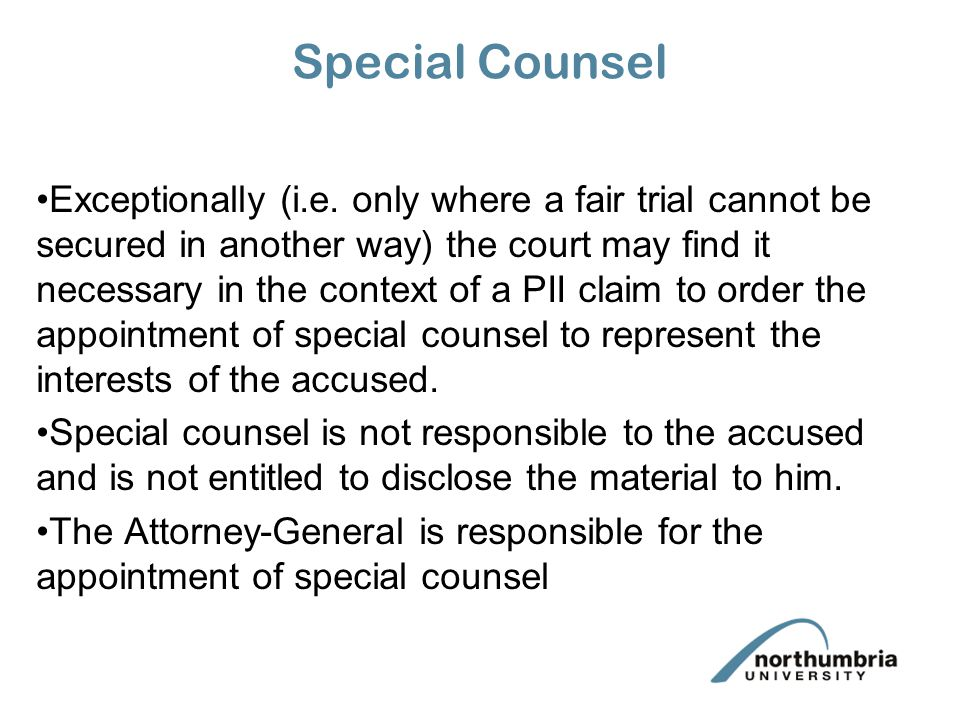 Special Counsel Exceptionally (i.e.