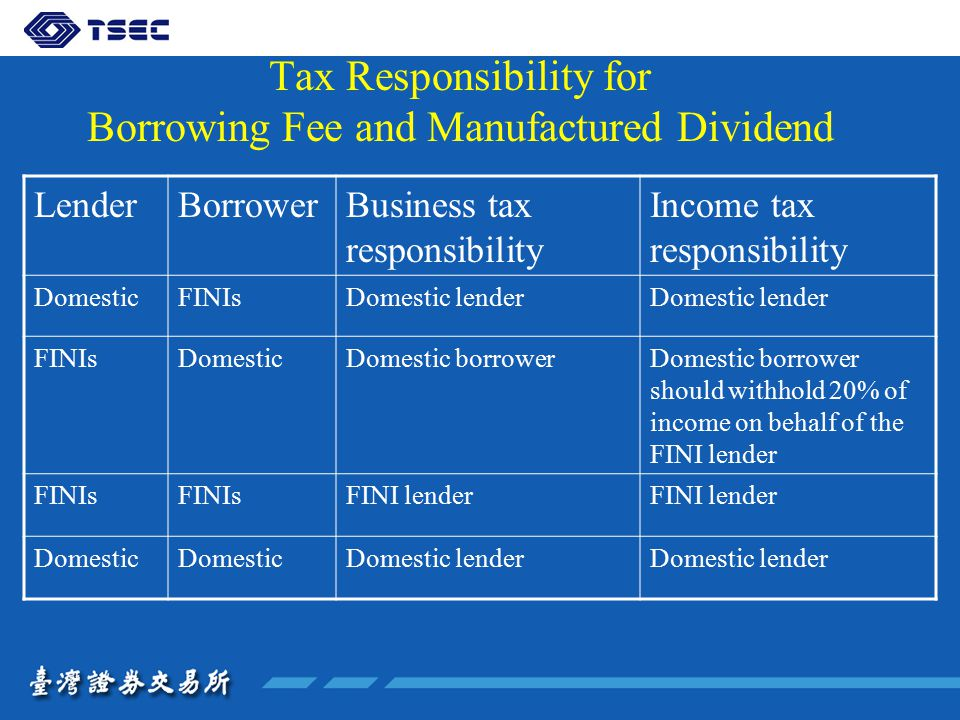 Tax Responsibility for Borrowing Fee and Manufactured Dividend LenderBorrowerBusiness tax responsibility Income tax responsibility DomesticFINIsDomestic lender FINIsDomesticDomestic borrowerDomestic borrower should withhold 20% of income on behalf of the FINI lender FINIs FINI lender Domestic Domestic lender