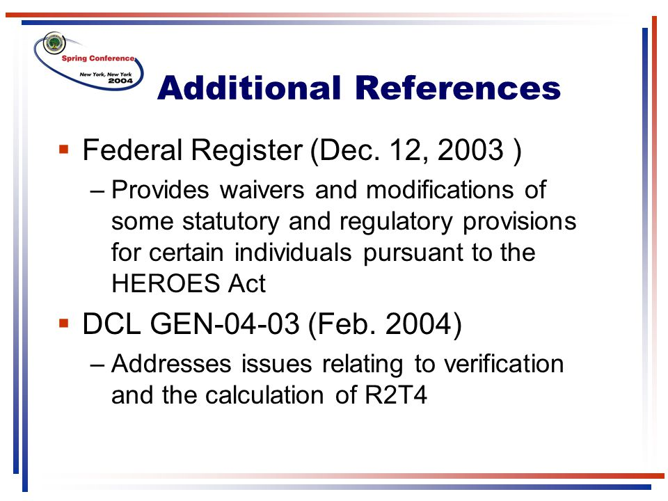 Additional References  Federal Register (Dec.