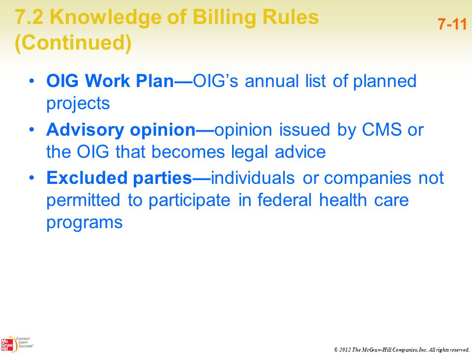 © 2012 The McGraw-Hill Companies, Inc. All rights reserved. 7.2 Knowledge of Billing Rules (Continued) 7-11 OIG Work Plan—OIG's annual list of planned