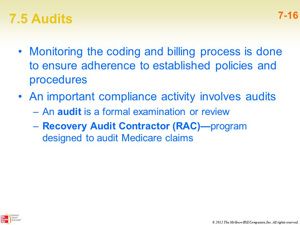 © 2012 The McGraw-Hill Companies, Inc. All rights reserved. 7.5 Audits 7-16 Monitoring the coding and billing process is done to ensure adherence to e