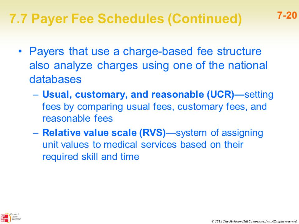 © 2012 The McGraw-Hill Companies, Inc. All rights reserved. 7.7 Payer Fee Schedules (Continued) 7-20 Payers that use a charge-based fee structure also