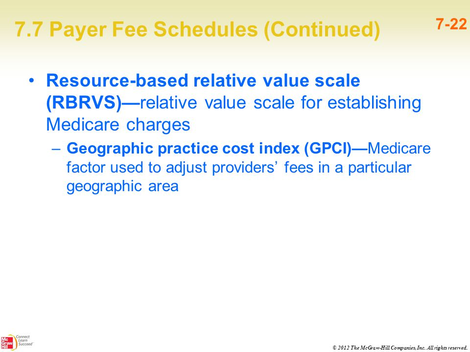 © 2012 The McGraw-Hill Companies, Inc. All rights reserved. 7.7 Payer Fee Schedules (Continued) 7-22 Resource-based relative value scale (RBRVS)—relat
