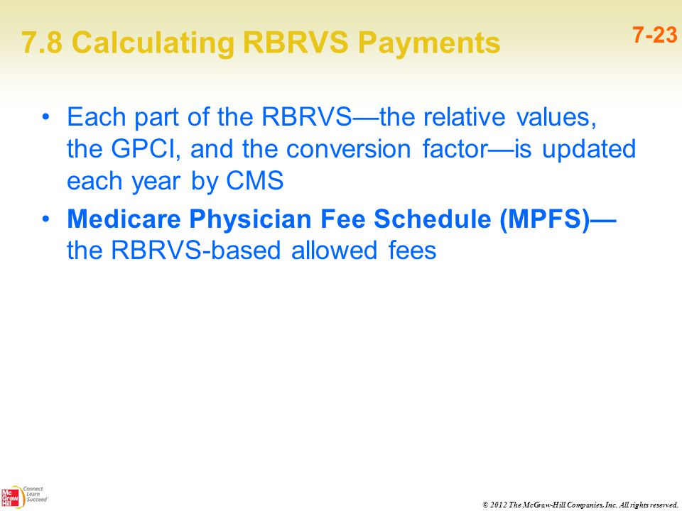 © 2012 The McGraw-Hill Companies, Inc. All rights reserved. 7.8 Calculating RBRVS Payments 7-23 Each part of the RBRVS—the relative values, the GPCI,