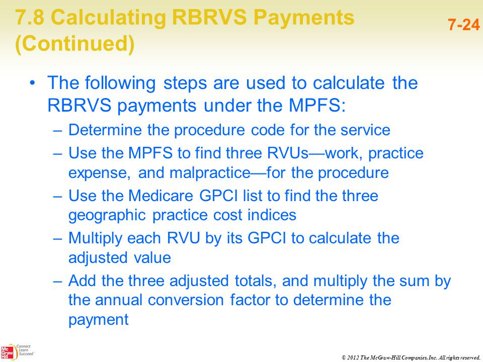 © 2012 The McGraw-Hill Companies, Inc. All rights reserved. 7.8 Calculating RBRVS Payments (Continued) 7-24 The following steps are used to calculate