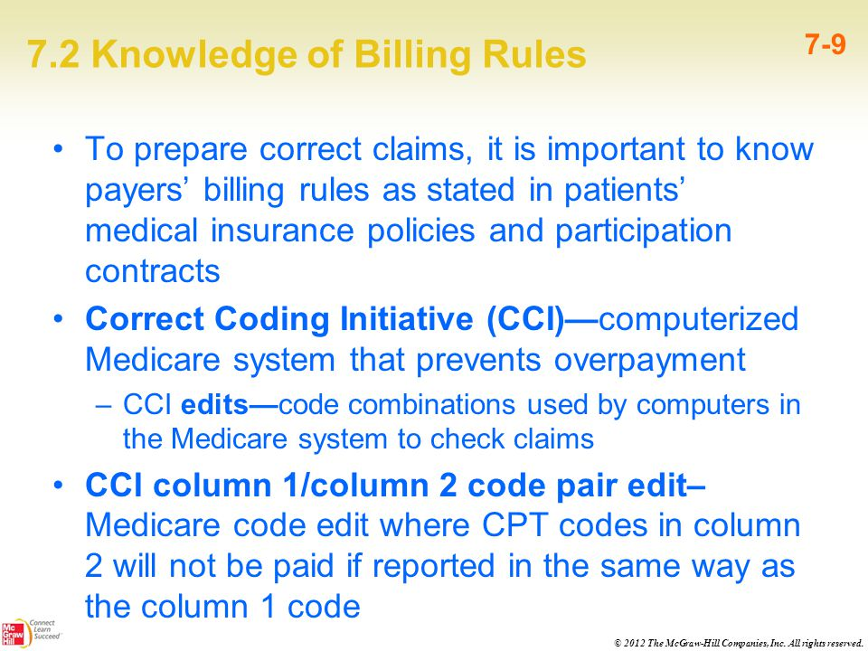 © 2012 The McGraw-Hill Companies, Inc. All rights reserved. 7.2 Knowledge of Billing Rules 7-9 To prepare correct claims, it is important to know paye