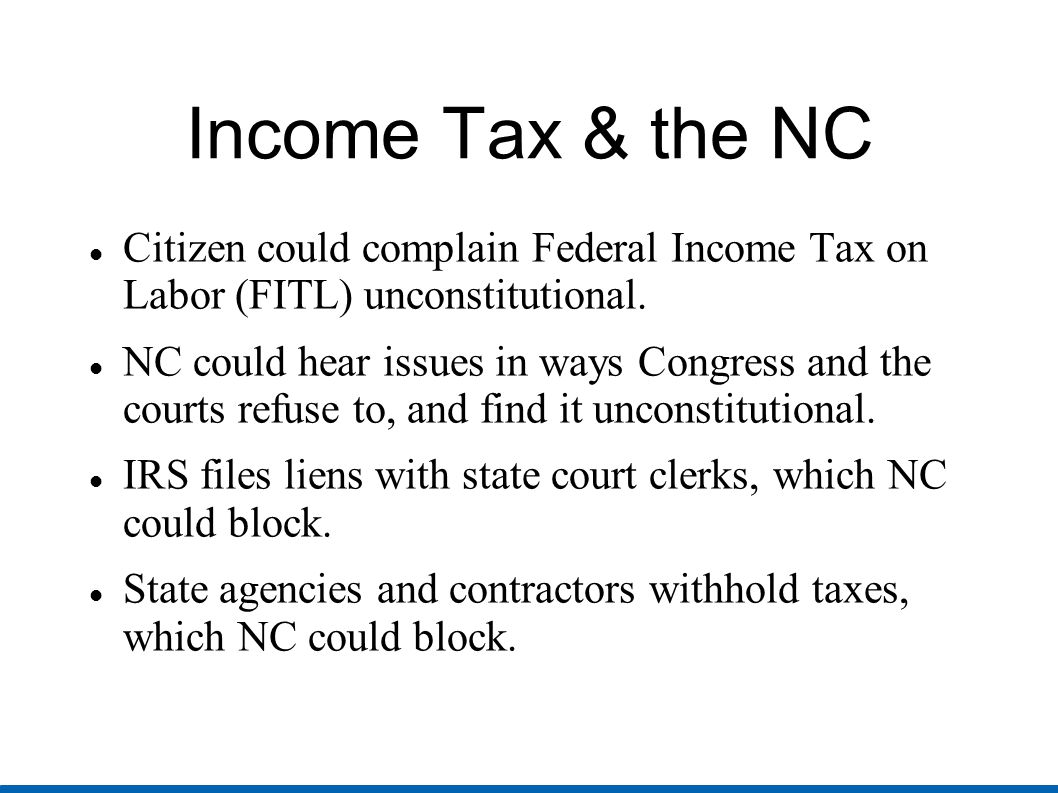 FITL continued IRS attaches money from bank accounts, but NC could have state bank charters suspended.