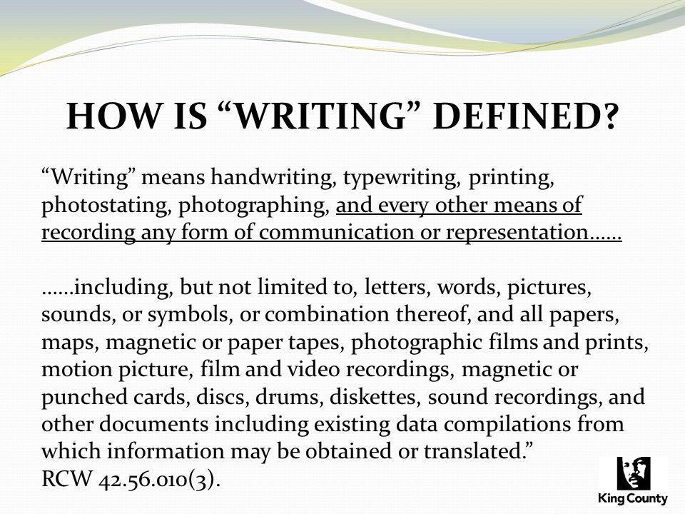 HOW IS WRITING DEFINED.