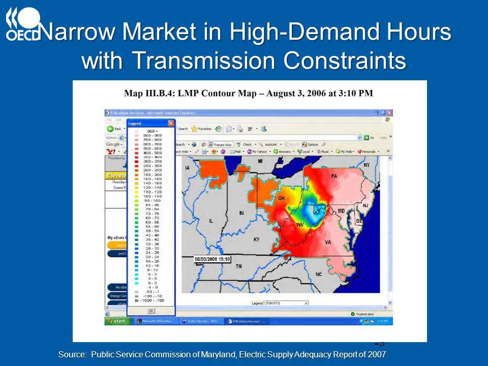 Narrow Market in High-Demand Hours with Transmission Constraints 25 Source: Public Service Commission of Maryland, Electric Supply Adequacy Report of 2007