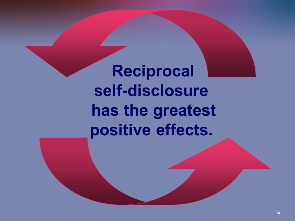 14 Reciprocal self-disclosure has the greatest positive effects.