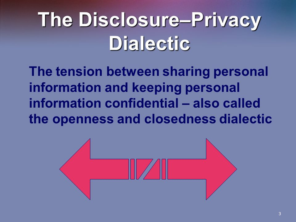 The Disclosure–Privacy Dialectic The tension between sharing personal information and keeping personal information confidential – also called the openness and closedness dialectic 3