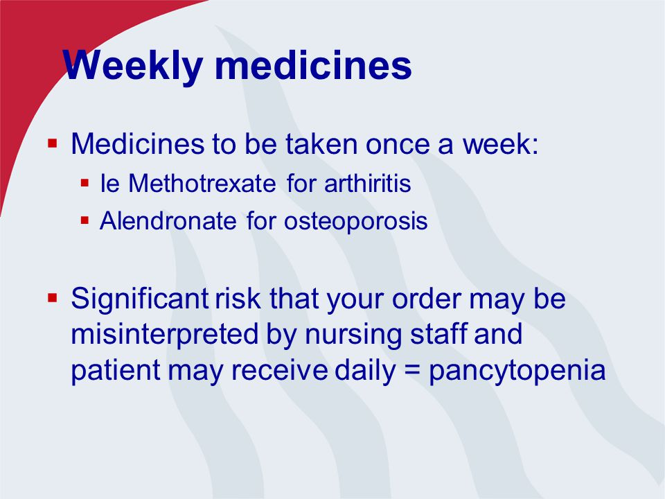 Weekly medicines  Medicines to be taken once a week:  Ie Methotrexate for arthiritis  Alendronate for osteoporosis  Significant risk that your order may be misinterpreted by nursing staff and patient may receive daily = pancytopenia