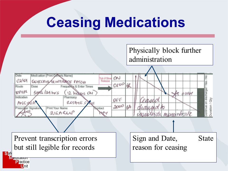 Ceasing Medications Prevent transcription errors but still legible for records Physically block further administration Sign and Date, State reason for ceasing