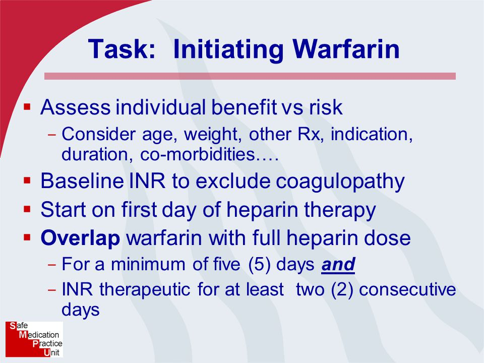 Task: Initiating Warfarin  Assess individual benefit vs risk - Consider age, weight, other Rx, indication, duration, co-morbidities….