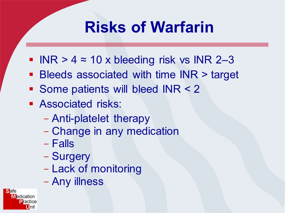 Risks of Warfarin  INR > 4 ≈ 10 x bleeding risk vs INR 2–3  Bleeds associated with time INR > target  Some patients will bleed INR < 2  Associated risks: - Anti-platelet therapy - Change in any medication - Falls - Surgery - Lack of monitoring - Any illness
