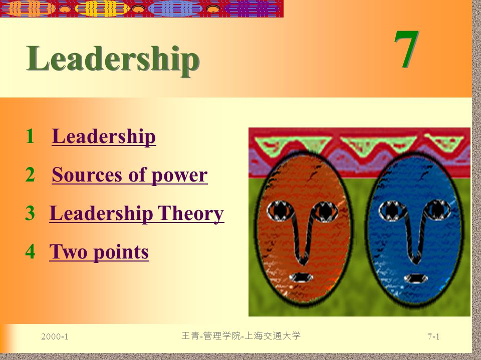 2000-1 王青 - 管理学院 - 上海交通大学 7-1 7 7 Leadership 1 LeadershipLeadership 2 Sources of powerSources of power 3Leadership TheoryLeadership Theory 4Two pointsTwo points