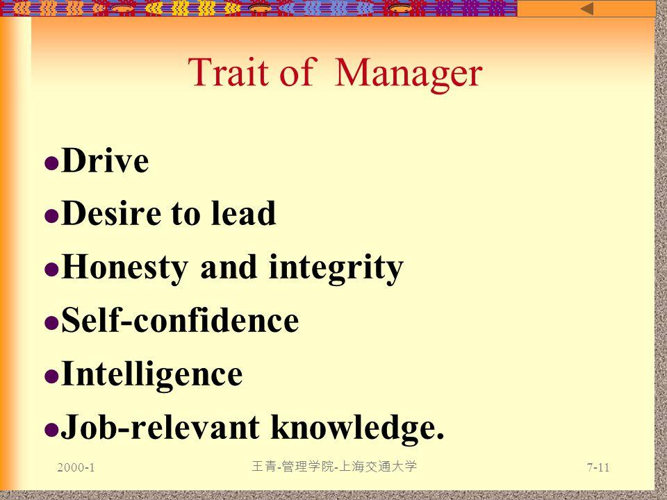 2000-1 王青 - 管理学院 - 上海交通大学 7-11 Trait of Manager Drive Desire to lead Honesty and integrity Self-confidence Intelligence Job-relevant knowledge.