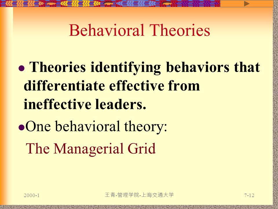 2000-1 王青 - 管理学院 - 上海交通大学 7-12 Behavioral Theories Theories identifying behaviors that differentiate effective from ineffective leaders.
