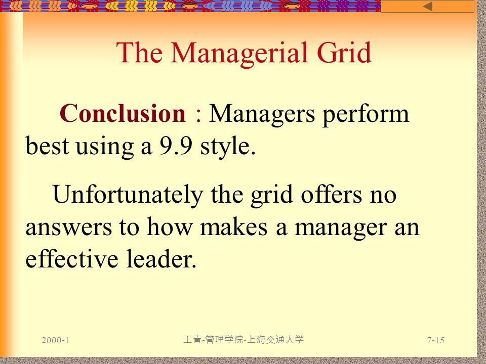 2000-1 王青 - 管理学院 - 上海交通大学 7-15 The Managerial Grid Conclusion : Managers perform best using a 9.9 style.