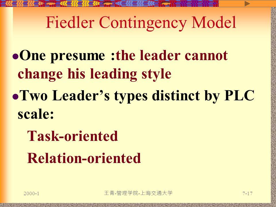 2000-1 王青 - 管理学院 - 上海交通大学 7-17 Fiedler Contingency Model One presume :the leader cannot change his leading style Two Leader's types distinct by PLC scale: Task-oriented Relation-oriented
