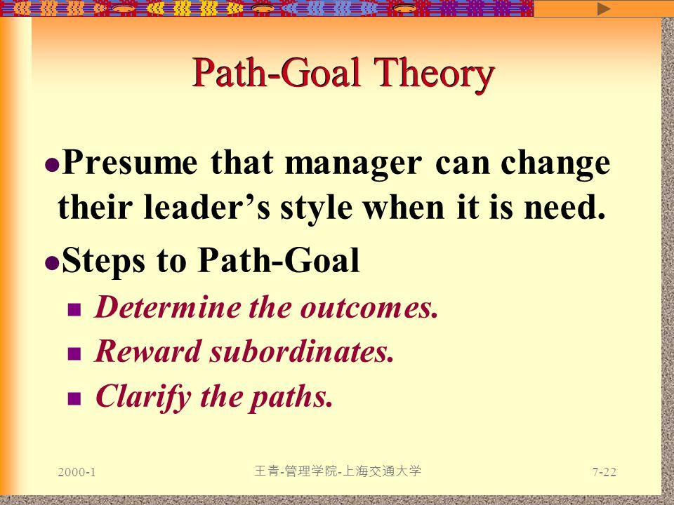 2000-1 王青 - 管理学院 - 上海交通大学 7-22 Presume that manager can change their leader's style when it is need.