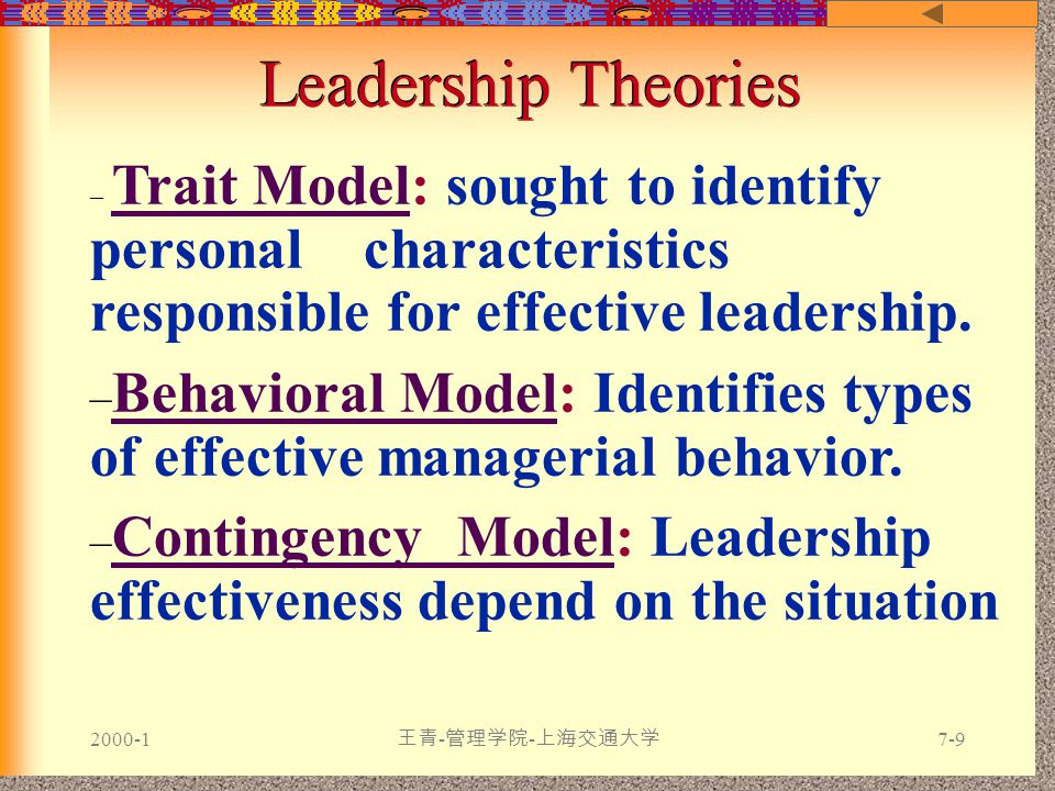 2000-1 王青 - 管理学院 - 上海交通大学 7-9 Leadership Theories – Trait Model: sought to identify personal characteristics responsible for effective leadership.