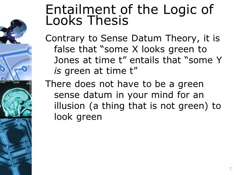 "7 Entailment of the Logic of Looks Thesis Contrary to Sense Datum Theory, it is false that ""some X looks green to Jones at time t"" entails that ""some"
