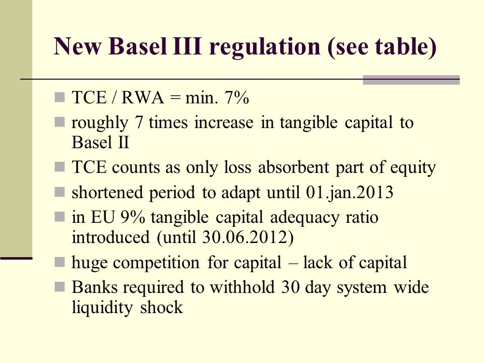 New Basel III regulation (see table) TCE / RWA = min. 7% roughly 7 times increase in tangible capital to Basel II TCE counts as only loss absorbent pa