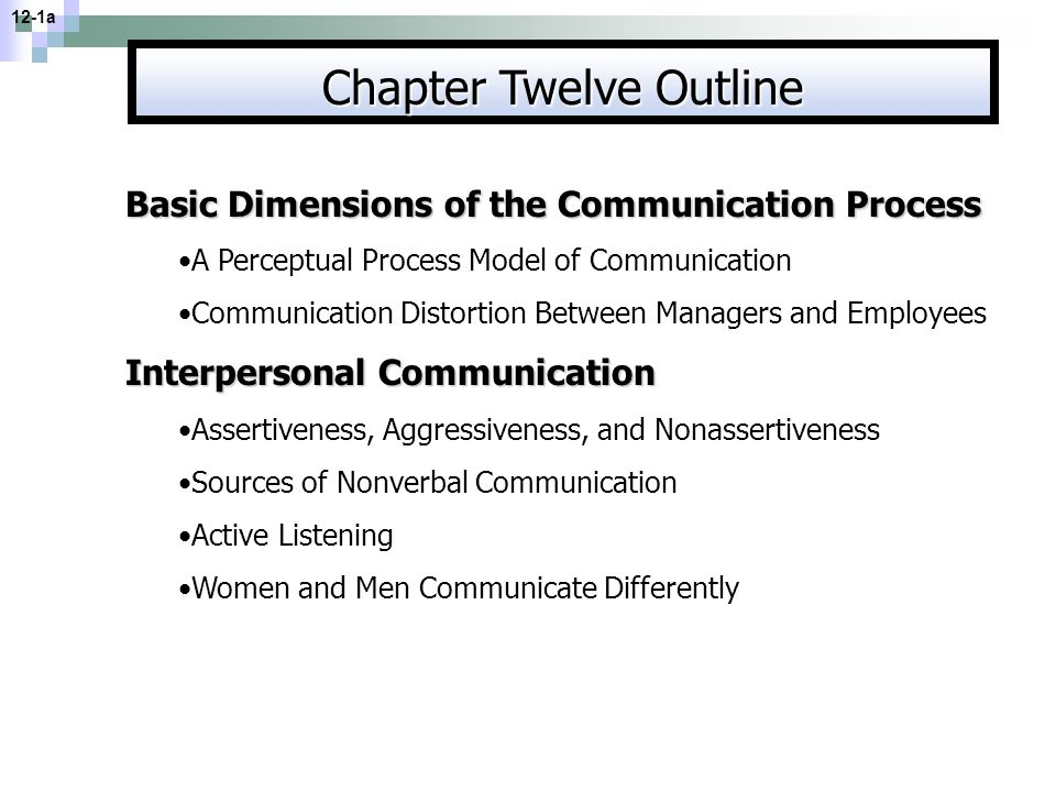 Chapter Twelve Outline Basic Dimensions of the Communication Process A Perceptual Process Model of Communication Communication Distortion Between Mana