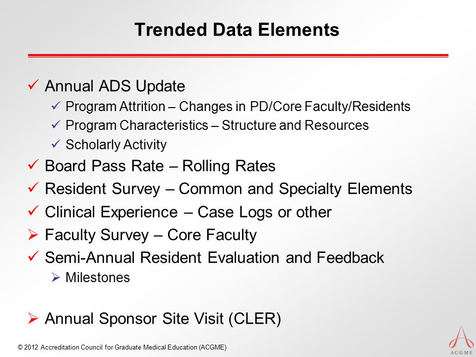 © 2012 Accreditation Council for Graduate Medical Education (ACGME) Trended Data Elements Annual ADS Update Program Attrition – Changes in PD/Core Fac