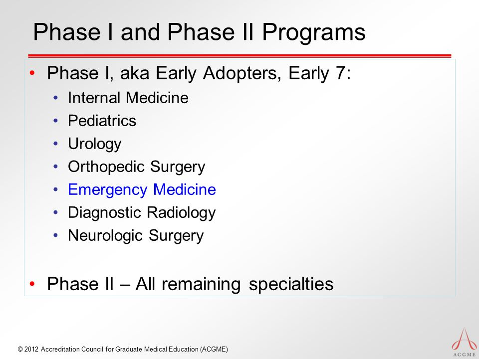 © 2012 Accreditation Council for Graduate Medical Education (ACGME) Phase I and Phase II Programs Phase I, aka Early Adopters, Early 7: Internal Medic