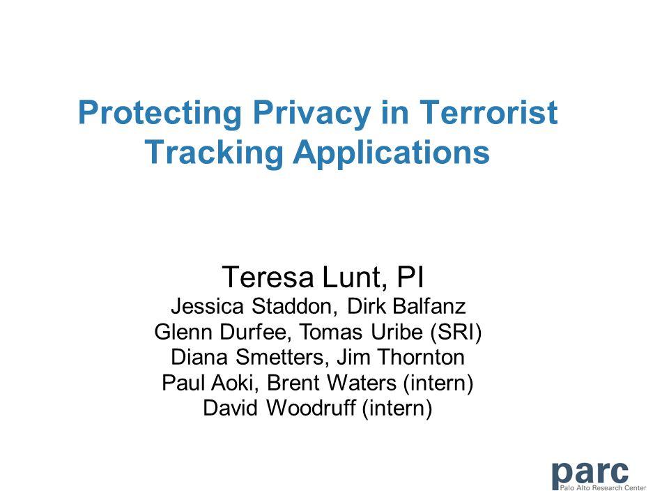 Protecting Privacy in Terrorist Tracking Applications Teresa Lunt, PI Jessica Staddon, Dirk Balfanz Glenn Durfee, Tomas Uribe (SRI) Diana Smetters, Jim Thornton Paul Aoki, Brent Waters (intern) David Woodruff (intern)