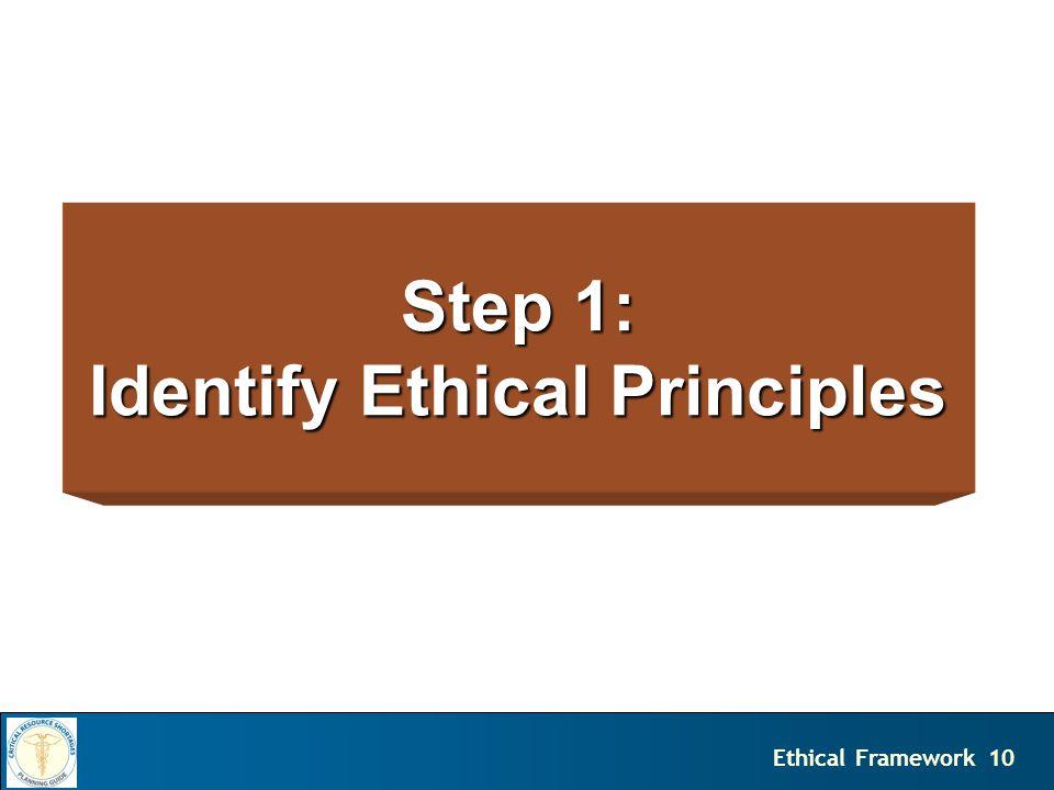 10Ethical Framework Step 1: Identify Ethical Principles