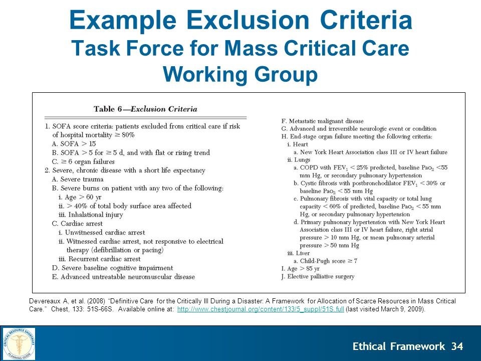 34Ethical Framework Example Exclusion Criteria Task Force for Mass Critical Care Working Group Devereaux A, et al.