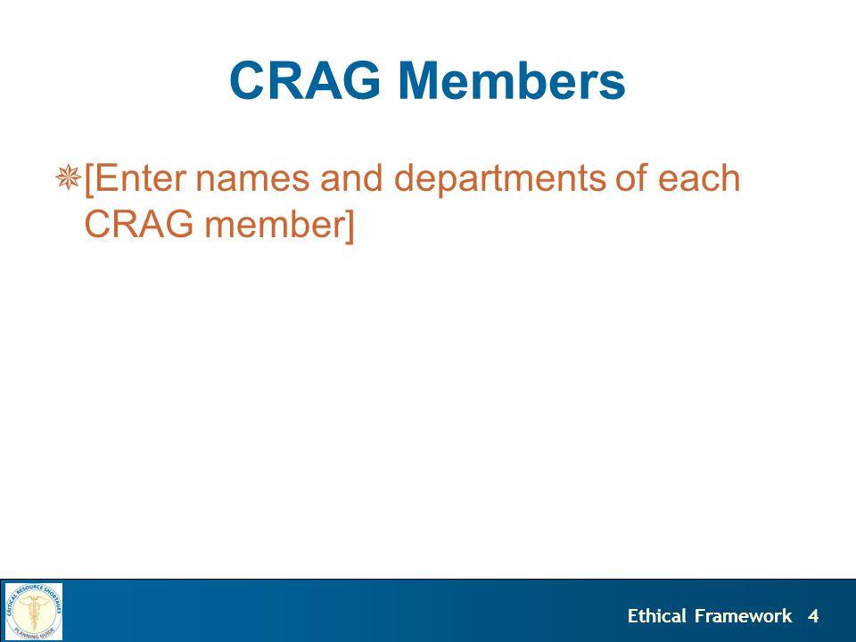 4Ethical Framework CRAG Members  [Enter names and departments of each CRAG member]