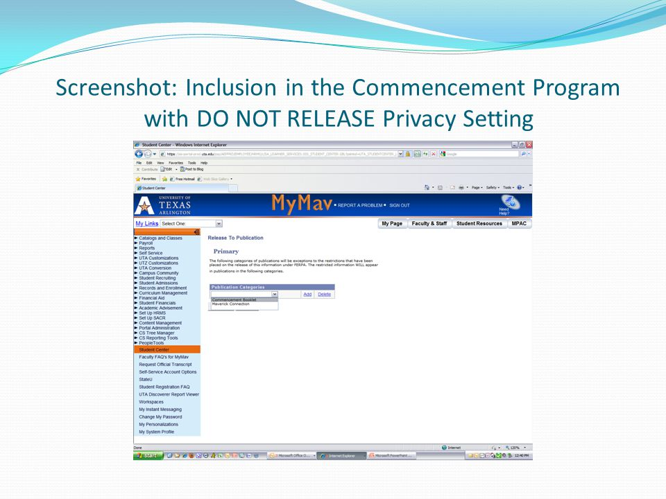 Screenshot: Inclusion in the Commencement Program with DO NOT RELEASE Privacy Setting