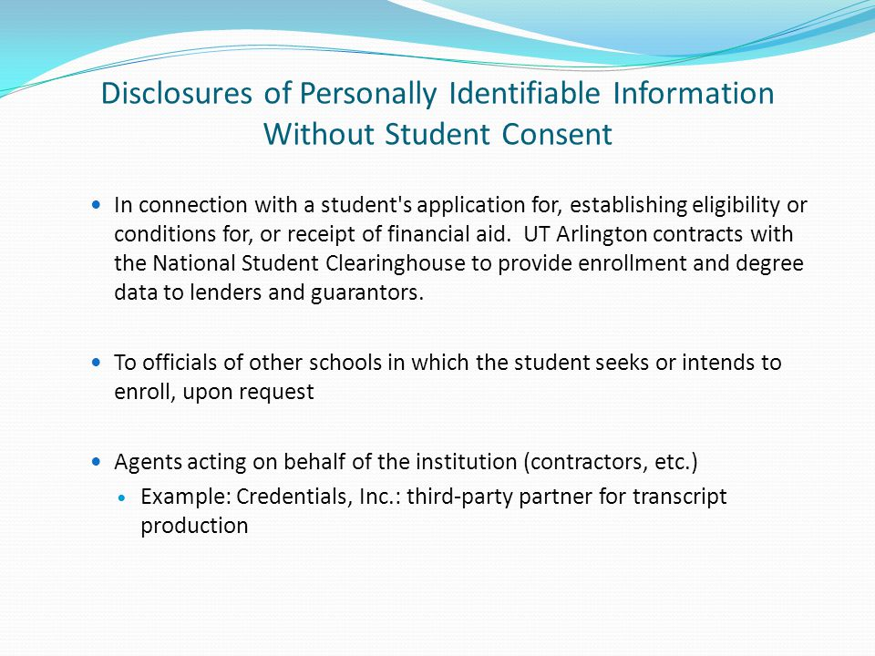 In connection with a student s application for, establishing eligibility or conditions for, or receipt of financial aid.