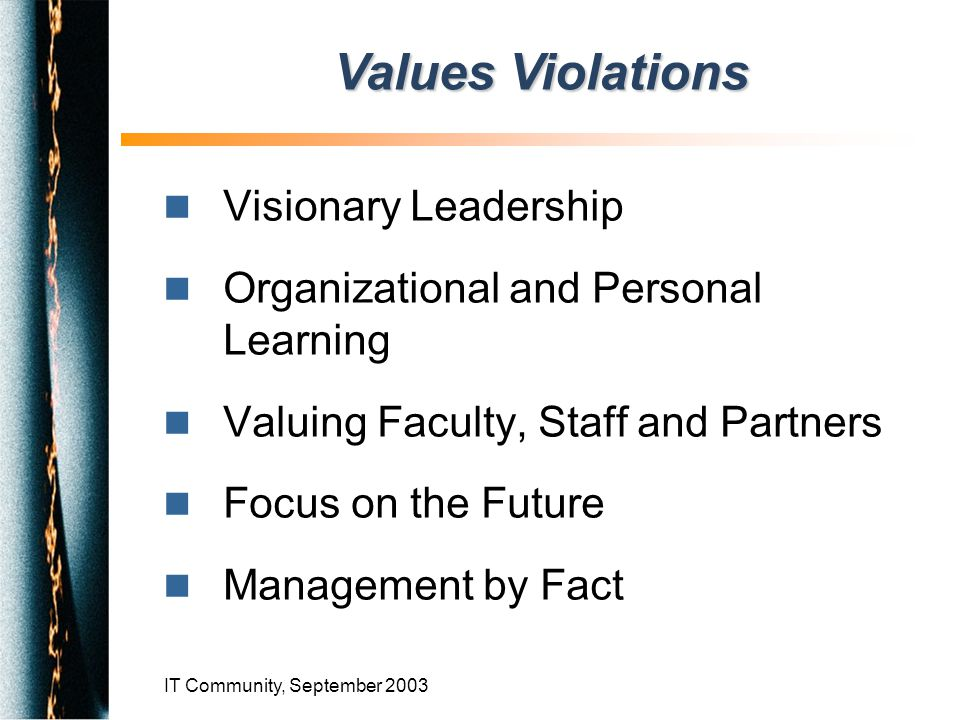 IT Community, September 2003 n Visionary Leadership n Organizational and Personal Learning n Valuing Faculty, Staff and Partners n Focus on the Future n Management by Fact Values Violations