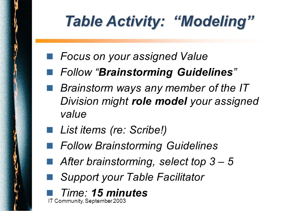 IT Community, September 2003 n Focus on your assigned Value n Follow Brainstorming Guidelines n Brainstorm ways any member of the IT Division might role model your assigned value n List items (re: Scribe!) n Follow Brainstorming Guidelines n After brainstorming, select top 3 – 5 n Support your Table Facilitator n Time: 15 minutes Table Activity: Modeling